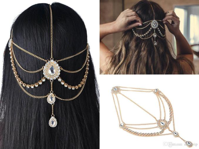 2018 wedding hair accessories for bohemian wedding dresses head chain bling crystal rhinestones silver and gold bridal accessories