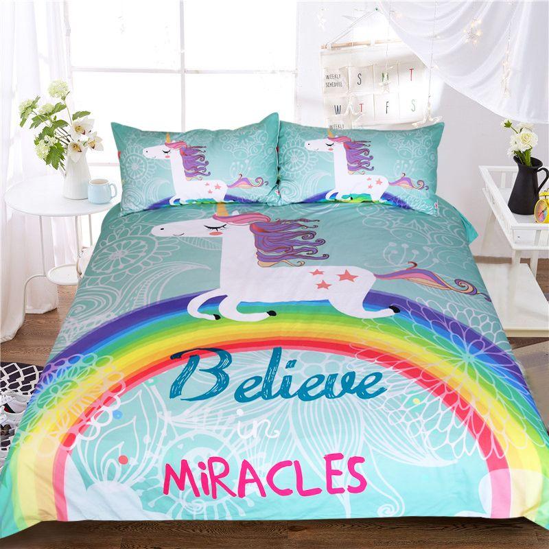 acheter licorne ensemble de literie miroirs de bande dessinee lit simple housse de couette animal pour enfants filles rainbow couvre lits de 113 27 du