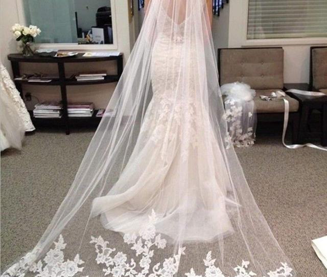 Best Selling Cheapest  Meter Long Chapel Length Bridal Veil Appliques Veu De Noiva Longo Wedding Veil Vintage Lace Purfle With Comb Wedding Veils Bridal
