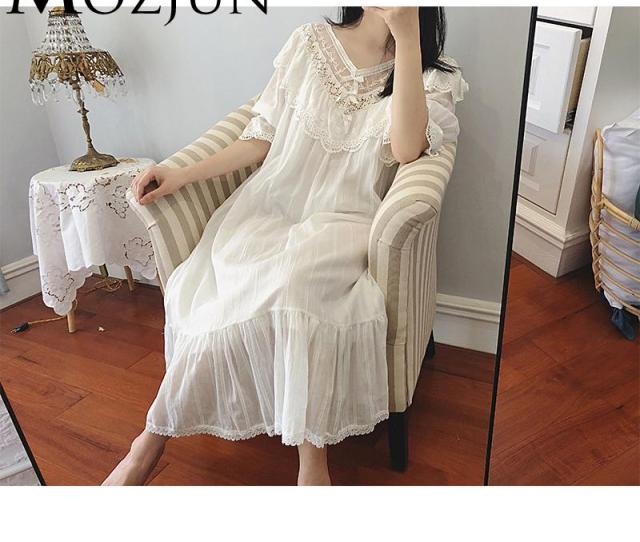 Lady Nightgown Sheer Sleepwear V Neck Floral Long Lace Robe For Bridesmaids Vintage Bridal Party Robes Summer Clothes Mz From Meicloth