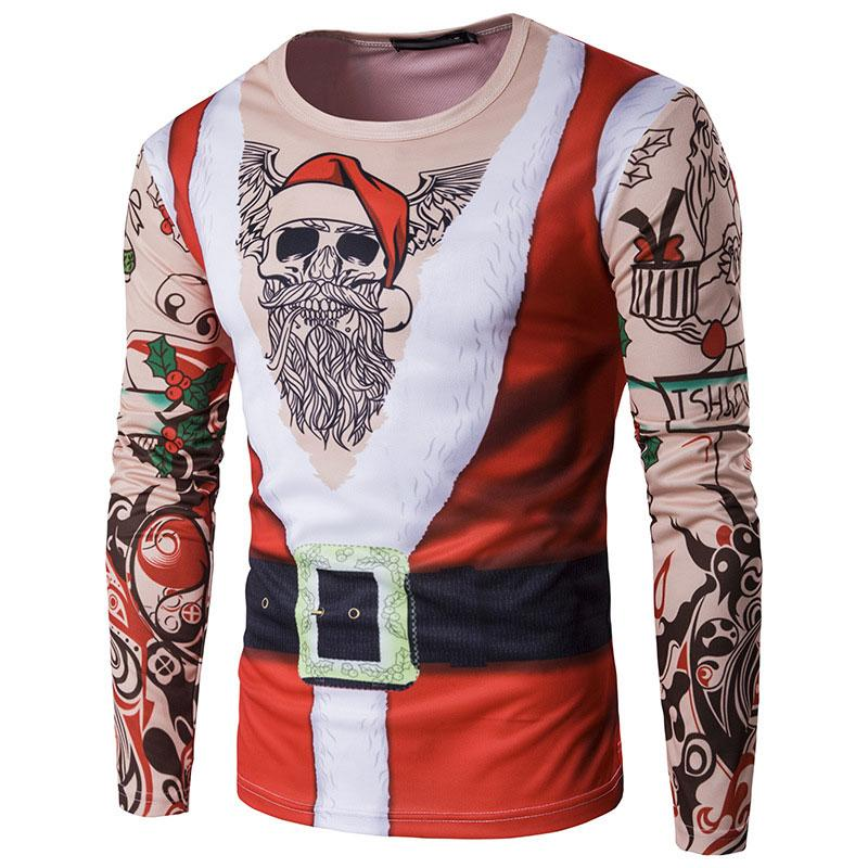 Fjun Christmas Shirt New Year S Men Merry Christmas T Shirts Sweater     Fjun Christmas Shirt New Year S Men Merry Christmas T Shirts Sweater Long  Sleeve Santa Claus Print Hot Sale Top Rated Newest Tshirts Funny T Shirts  From