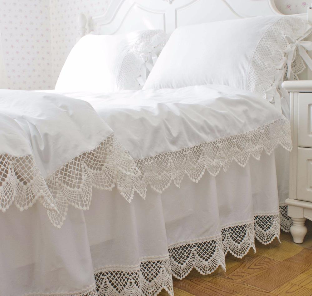 Korean Satin White Lace Bedding Duvet Cover Set Twin Full