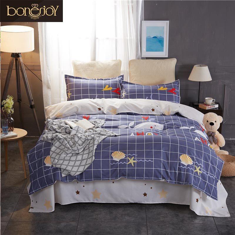 acheter bonenjoy reine ensemble de literie king size bleu plaid couverture de lit starfish de bande dessinee imprime housse de couette literie ensembles de