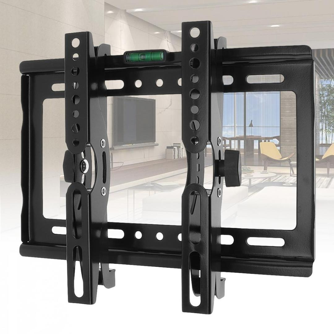 45kg adjustable tv wall mount bracket flat panel tv frame support 15 degrees tilt angle with level for 14 42 inch lcd led home stereo receiver video cables