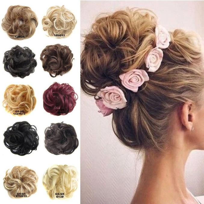 women wedding party artificial hair clip on hair bun donut extentsion piece  wig scrunchie elastic bands headwear