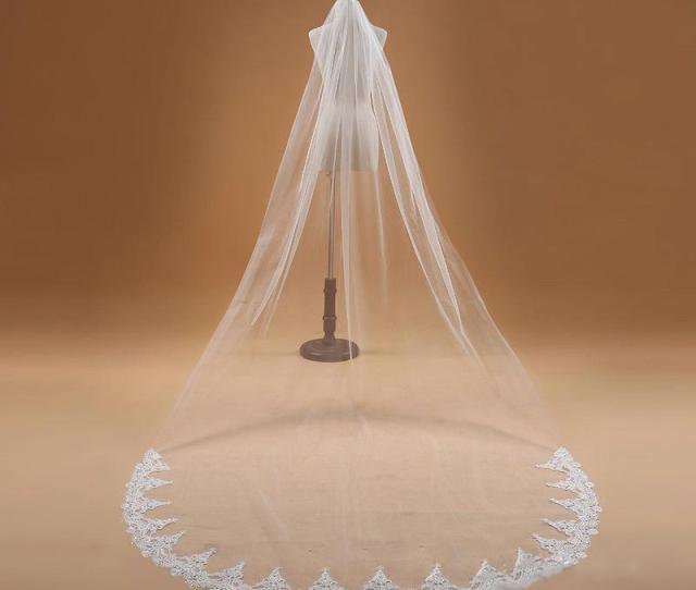 Best Selling Cheap In Stock Long Chapel Length Bridal Veil Appliques  Meters Long Wedding Veil Veu De Noiva Krd Birdcage Wedding Veil Bridal Updos