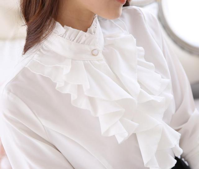 Stand Ruffled Collar Tops Women Formal Long Sleeve Slim Waist Purple White Blouse Office Lady Ruffle Shirts From Icostore   Dhgate Com