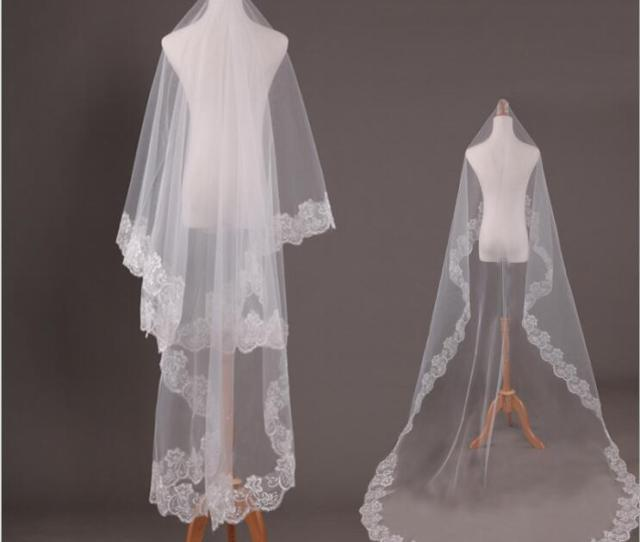 Lace Edge Ivory Cathedral Wedding Veil Long   Meters One Layer Bridal Veils Bride No Comb White Veu De Noiva  Metros How To Make Bridal Veil Indian