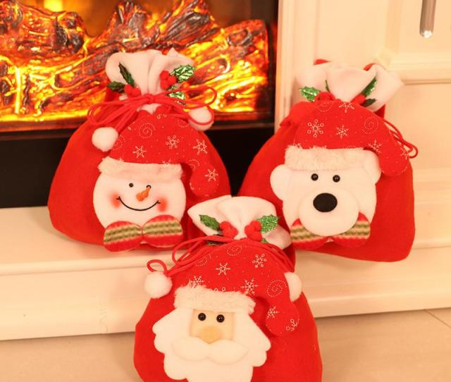 Style Red Colorful Christmas Tree Santa Claus Snowman Pattern Candy Bag Handbag Home Party Decoration Gift Bag Christmas Supplies Tc Candy Bag