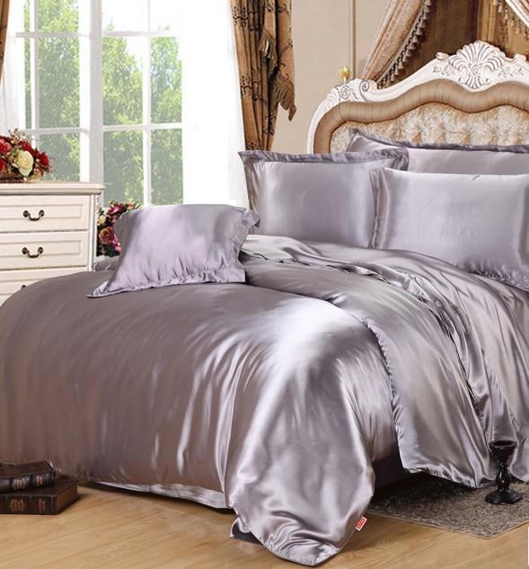 ensemble de literie en satin argente ensemble de literie en satin gris ensemble de draps housse de couette dans un edredon de lit king size taille double