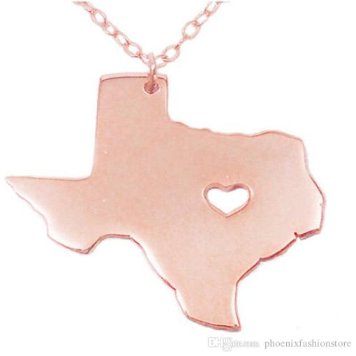 Wholesale Us States Map Pendant Necklaces Texas Map Necklace With     Wholesale Us States Map Pendant Necklaces Texas Map Necklace With Heart  High Quality Stainless Steel Charms Women Jewelry Mens Gold Chains Necklace  Charms