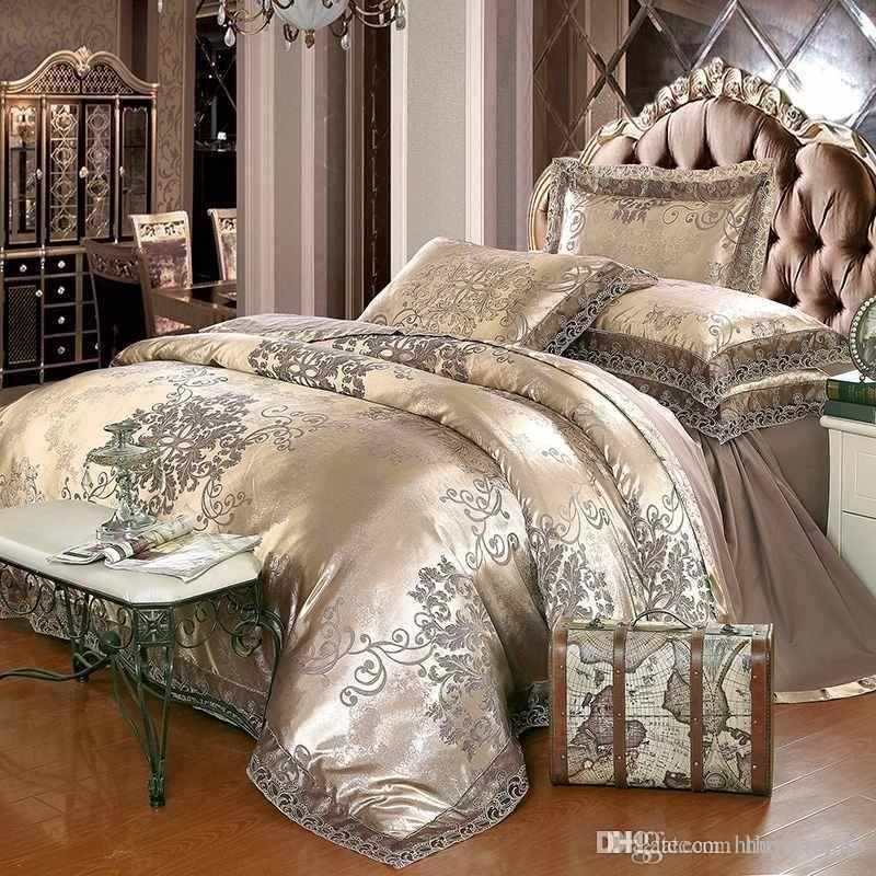 acheter ensemble de literie de luxe jacquard cafe en argent dore reine king size tache lit ensemble 4 coton housse de couette en dentelle de soie