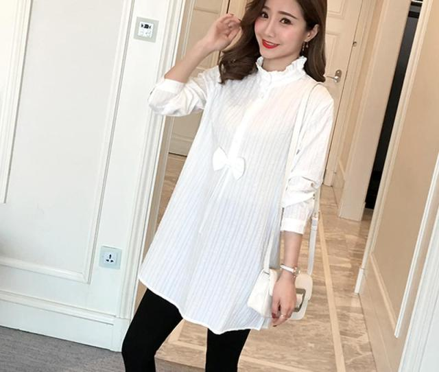 Spring Maternity Clothes Plus Size Stand Collar Pregnant Women Long Sleeve Chiffon Shirts Pregnancy Blouses Thin From Dejavui