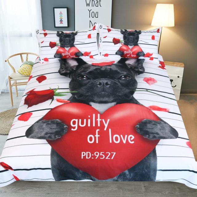 bulldog bedding set black red duvet cover quilt cover pillowcases