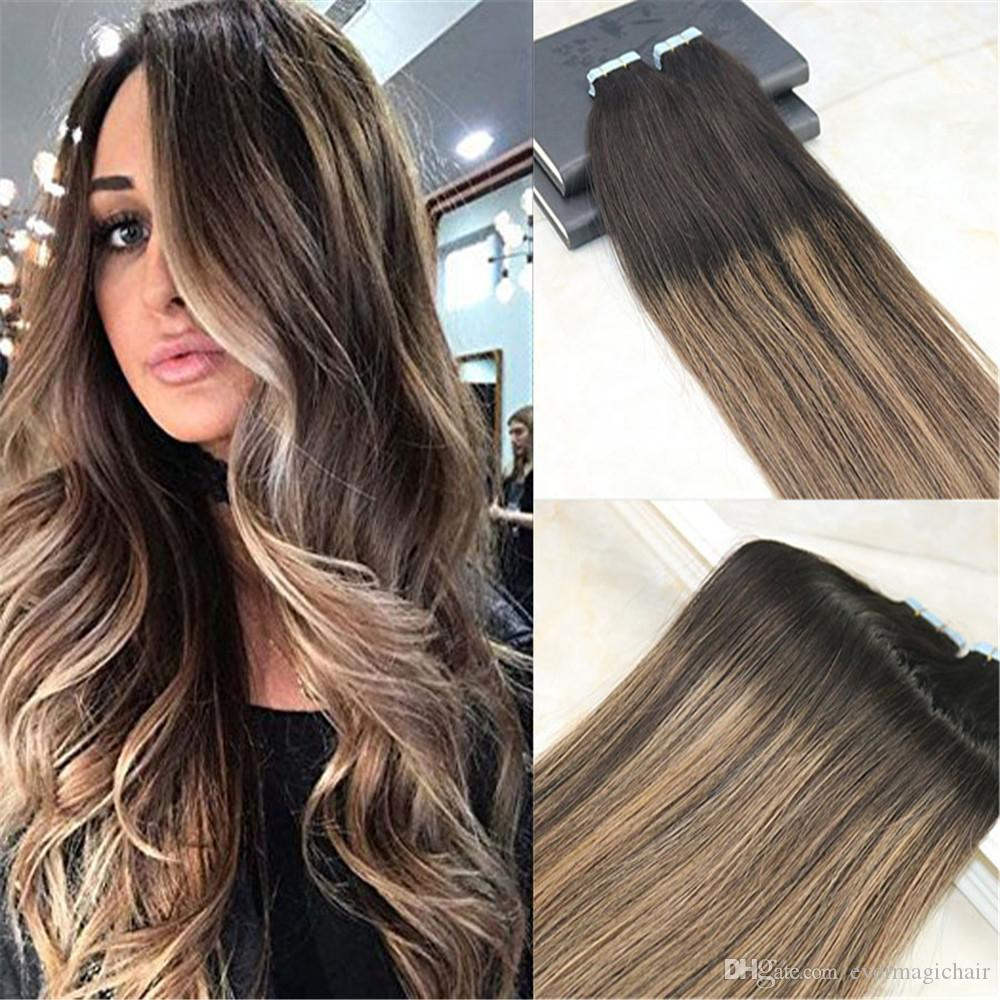 Remy Tape In Hair Extensions Human Hair Balayage Color