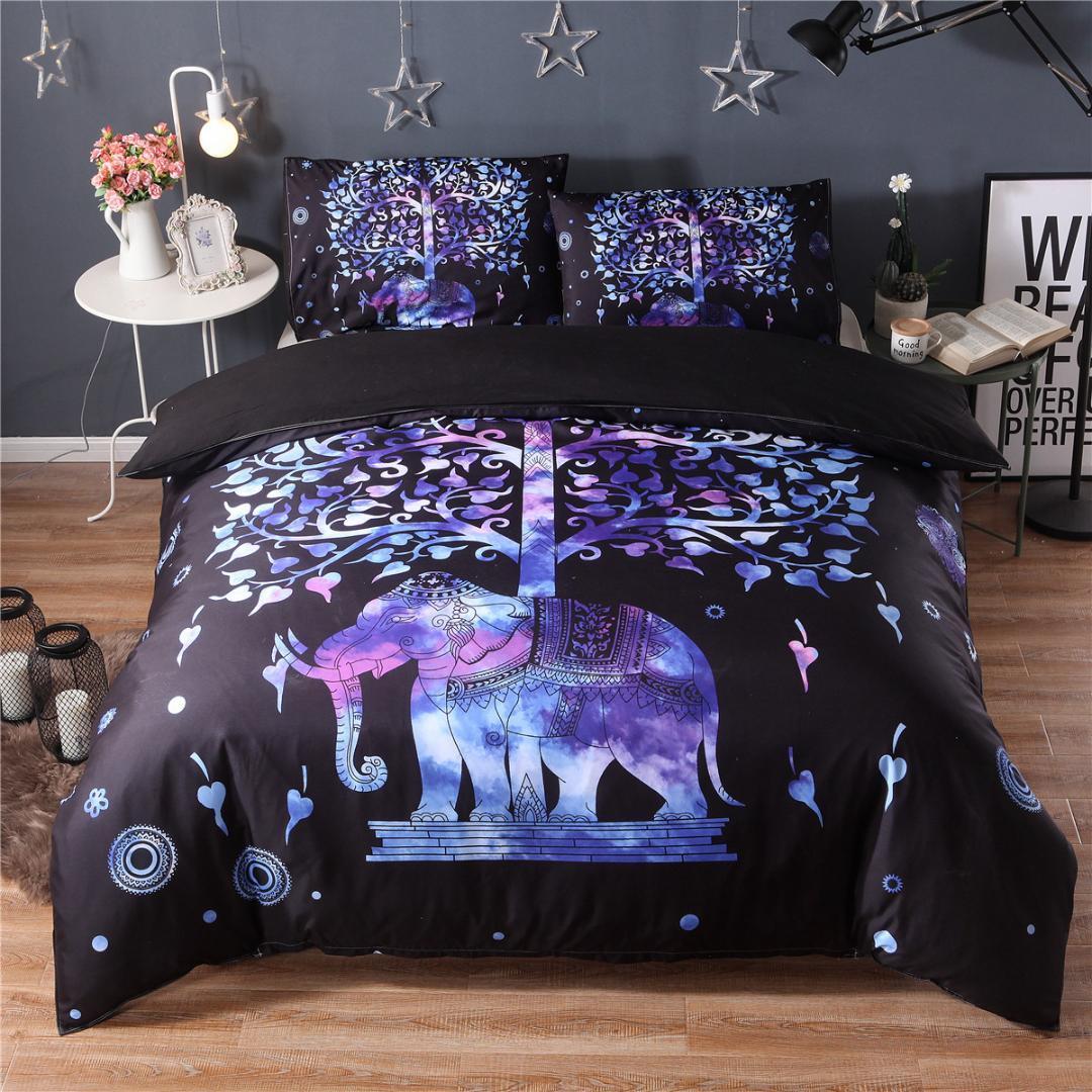 acheter ensemble de literie noir 3d colore housse de couette et taie d oreiller imprime bohemien elephant indien draps de lit exotiques