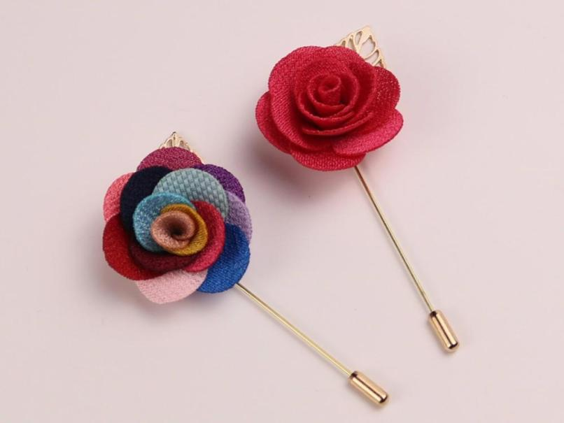 White Purple Blue Pink Green Brown Black Fabric Lapel Flower Pins Number Age 40th Birthday Cake Topper Decoration In Red