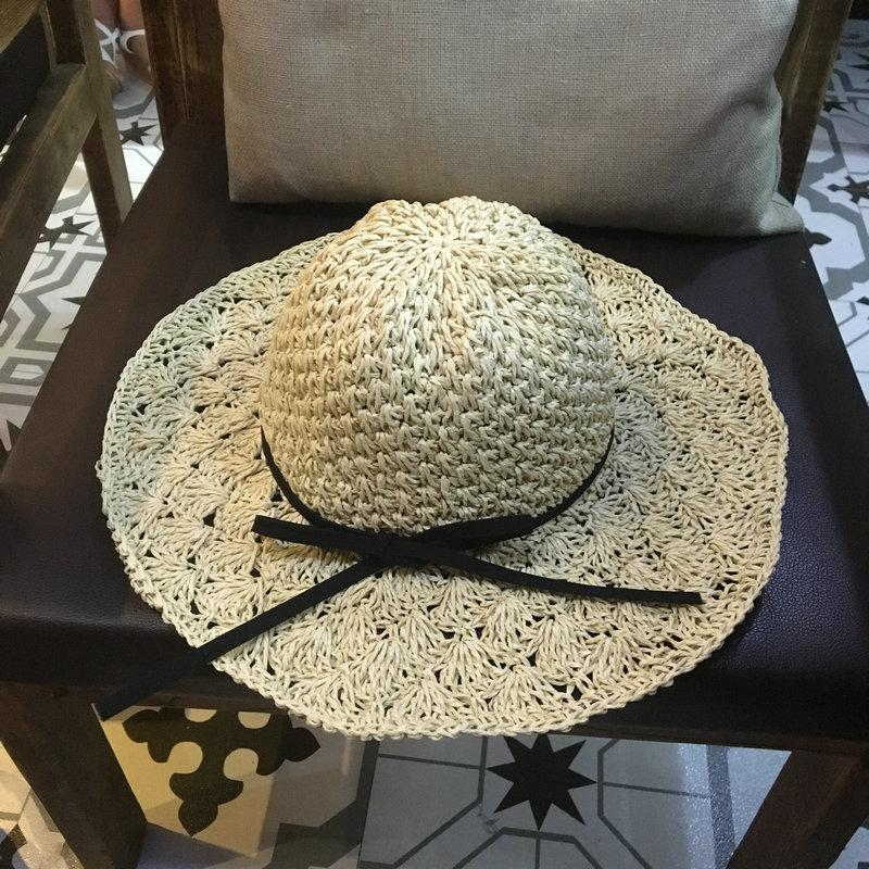 7641c931809 Women Handmade Crochet Straw Beach Hat Large Brim Foldable Sun Hats