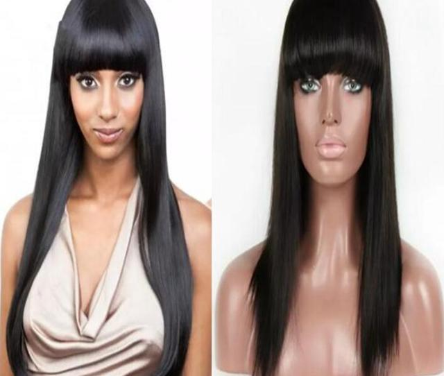 Bang Full Lace Wigs A Grade The Best Quality Brazilian Virgin Human Hair Gluelss Lace Front Wigs For Black Woman Free Shippiing Red Lace Wig Drag Wigs