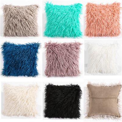 acheter couvre oreiller en fourrure d agneau de mongolie en peau de mouton en laine douce en peluche taie d oreiller housse de coussin pour salon chambre de