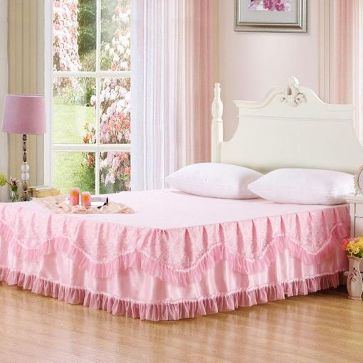 Romantic Lace Pink Bed Skirt Queen Size 180x200cm Skirted Bedspread     Romantic Lace Pink Bed Skirt Queen Size 180x200cm Skirted Bedspread One  Piece Full Size Bedskirt White Bedskirts From Oopp   55 55  Dhgate Com