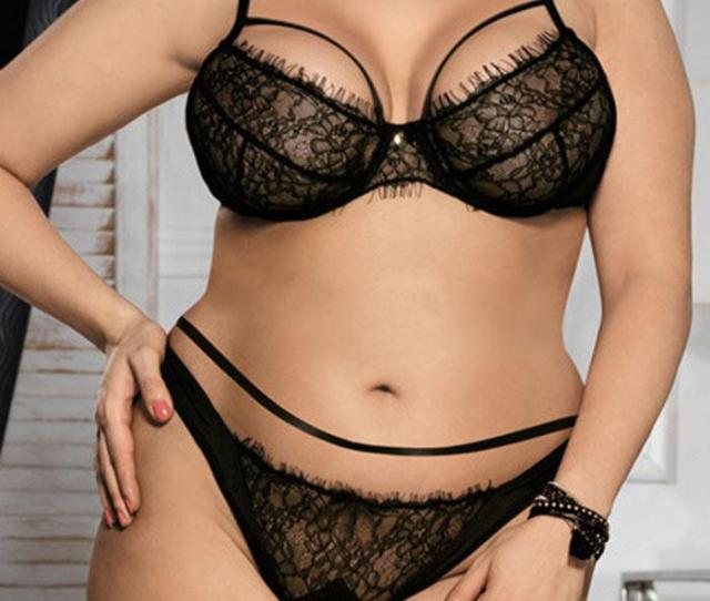 2019 Wipalo Plus Size Sexy Black Lace Bralette Briefs Set Underwire Lingerie Balcony Women Bra Set Bras Adjustable Elegant Underwear From Salom