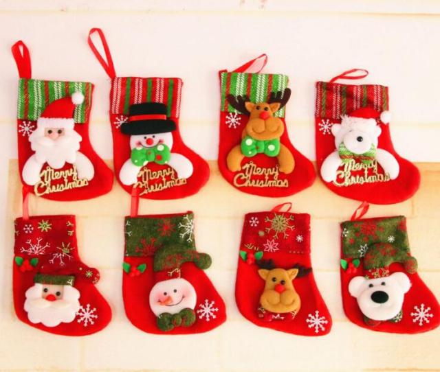 Applique Sequin Christmas Stockings Christmas Decoration Gifts Small Old Man Socks Christmas Gift Gift Bag Advanced