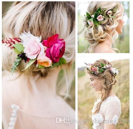 2019 designer flower headband hair wreath wedding hair accessories flower tiaras bridal wreaths garland boho crowns for women beach head pieces from