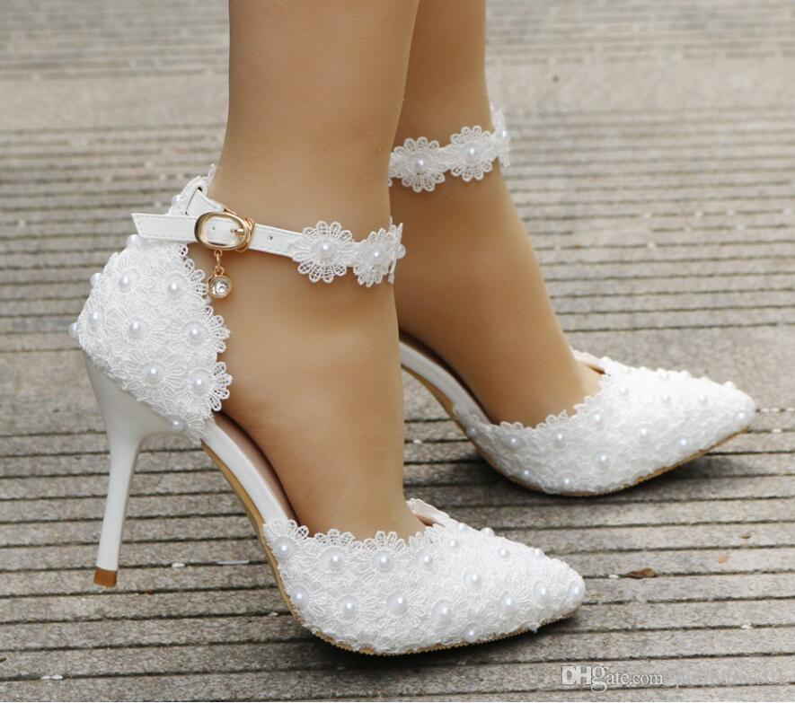 White Lace Flower Wedding Shoes Strap BrideS Shoes And