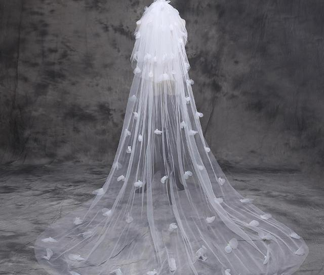 Hot Gorgeous One Layer  Meters Cathedral Wedding Veil With Flower Wedding Long Bridal Veils With Crystals Veu De Noiva Longo Chapel Length Veil Cheap Veils
