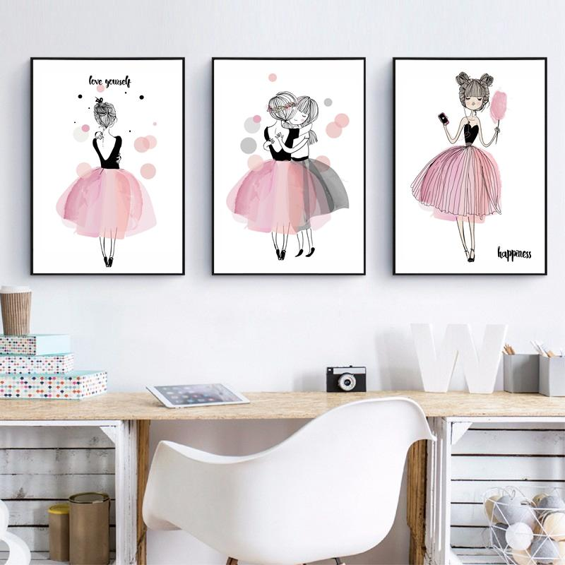 2019 Cute Cartoon Girl Canvas Art Print Poster Kids Room ... on Room Decor Posters id=28420