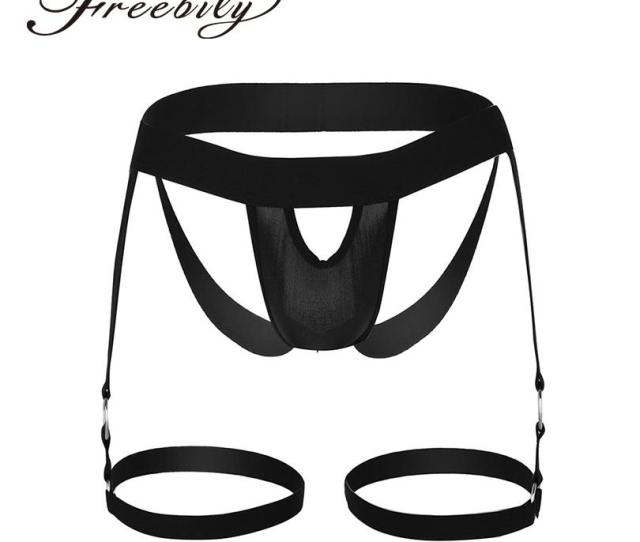 2019 Black Mens Lingerie Bulge Pouch Open Butt Jock Strap G String Briefs Underwear With Leg Garters Band And O Rings Unique Design From Hongxuanstore01