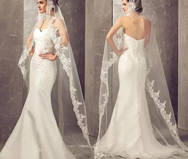 Ivory  Meters Long Cheapest Chapel Length White Ivory Bridal Veil Lace Appliques  Veu De Noiva Longo Wedding Veil Birdcage Wedding Veils Bridal Veil