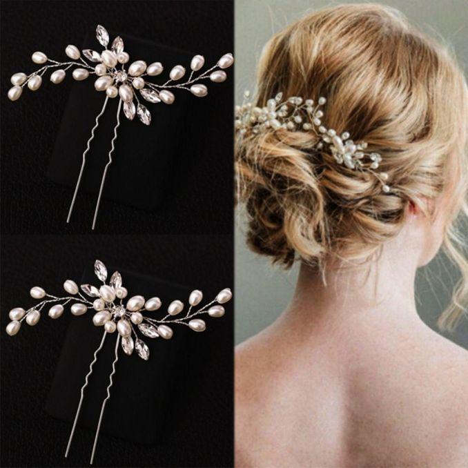 cn hair accessories silver bridal veil pearl hairpins for girls wedding  party women bridesmaid crystal flower hair clips