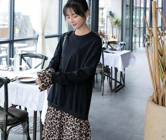 Spring Maternity Clothes Long Sleeve Loose New Leopard Patchwork Knitted Cotton Dress Pregnant Women Knee Length Dress Nice From Jasmineer