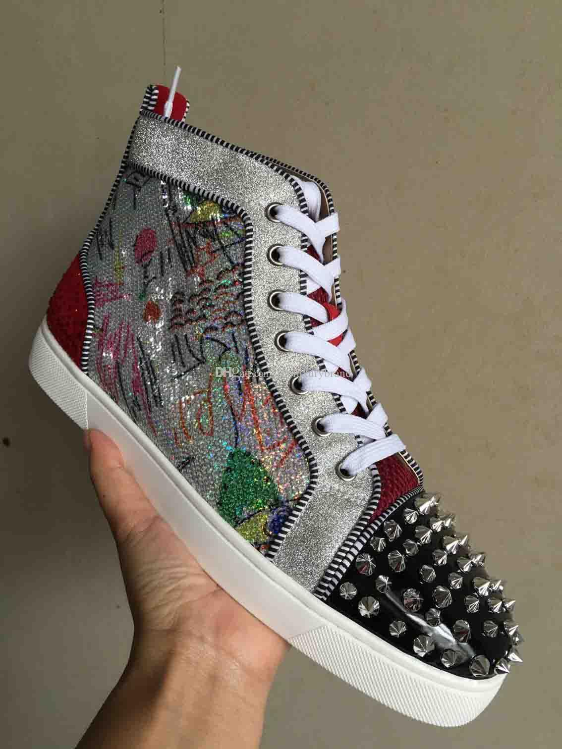 High Top Red Bottom Spikes Sneakers Men Casual Shoes