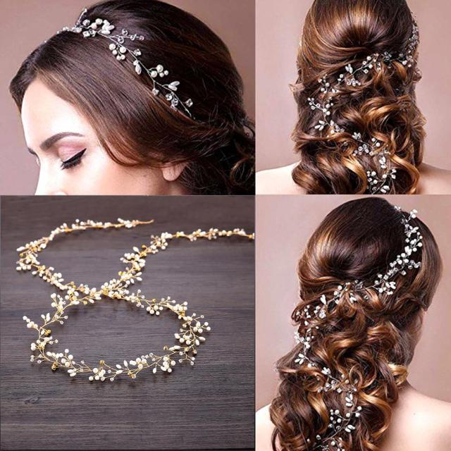 unistyle wedding hair vine crystal head vine bridal hair accessories with decorative beads, golden