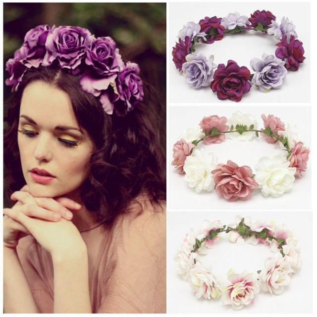 girls wedding flower wreath crown headband floral garlands hair band hair accessories new spring fashion women lady