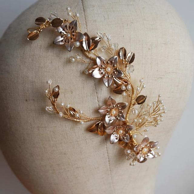 gold flower wedding barrette handmade crystal and pearls hair clip fashion headpiece bridal hair accessories