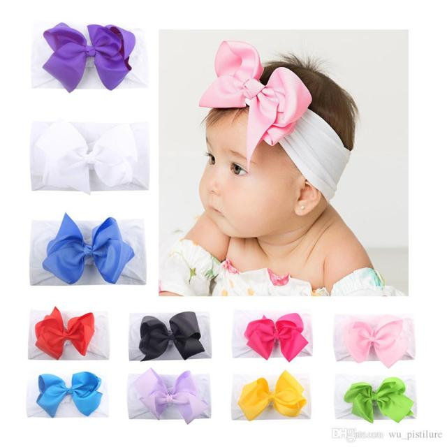 baby hair accessories super soft infant kids bow knot child hair ornaments baby girls super elastic soft nylon hair band with bow-tie