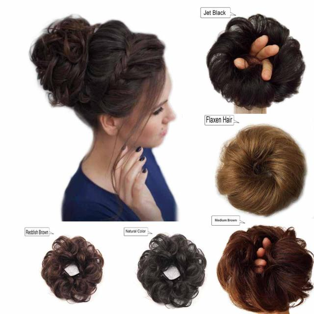 human hair bun messy bun hair extensions wavy curly wedding hair pieces for women kids updo donut chignons