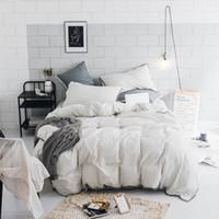 stripes blanc housse de couette ensemble 100 coton couleur unie drap de lit taie d