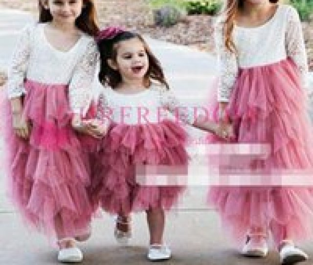Wholesale Hot Necked Girls Images Online A Line Round Neck Hot Pink Tulle Flower Girl