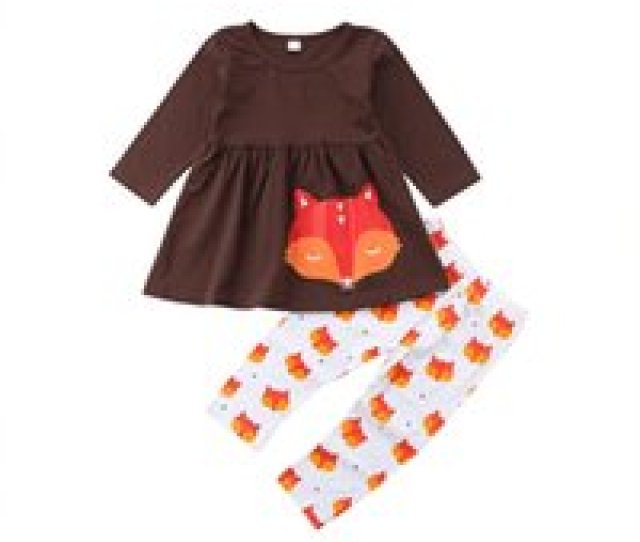 Wholesale Kids Boutique Clothing For Sale Baby Girls Outfits Children Fox Print Dress Top Pants
