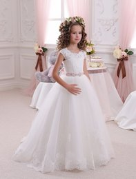 Classic First Communion Dresses   Kids Formal Wear   DHgate com Ivory White Vintage Cap Sleeves Tutu Lace Flower Girl Dresses 2018 A Line First  Communion Kids Dresses For Girls Size 10 12