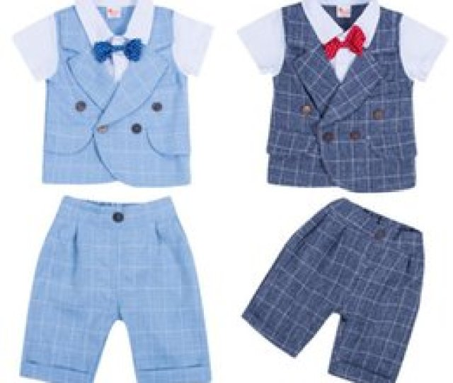 Discount Toddler Boys Formal Clothes Boy Gentleman Outfits Suit Bow Tie Tops Pants Pcs Plaid