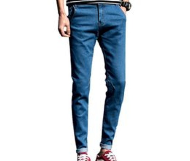 Spring Pure Color Little Stretch Mens Jeans Black Blue     Hot Teen Fashion Casual Cotton Man Trousers