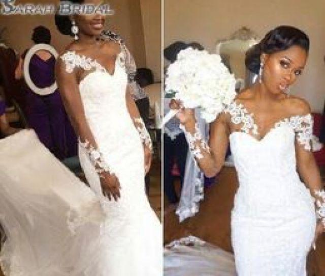 Elegant African American Black Girl Wedding Dress 2019 Mermaid White V Neck Sheer Long Sleeves Lace Long Bridal Gown