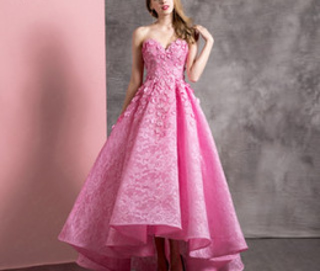 New Hot Pink Lace High Low Cocktail Party Dresses Sweetheart D Flowers Teens Girls Prom Dress Party Dress New Arrival