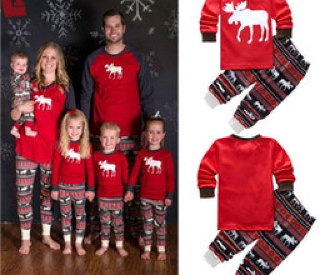 New Autumn Warm Fall Winter Xmas Santa Deer Christmas Family Kids Women Men Adult Sleepwear Pajamas Set Striped Cotton Pyjamas Pc Outfits
